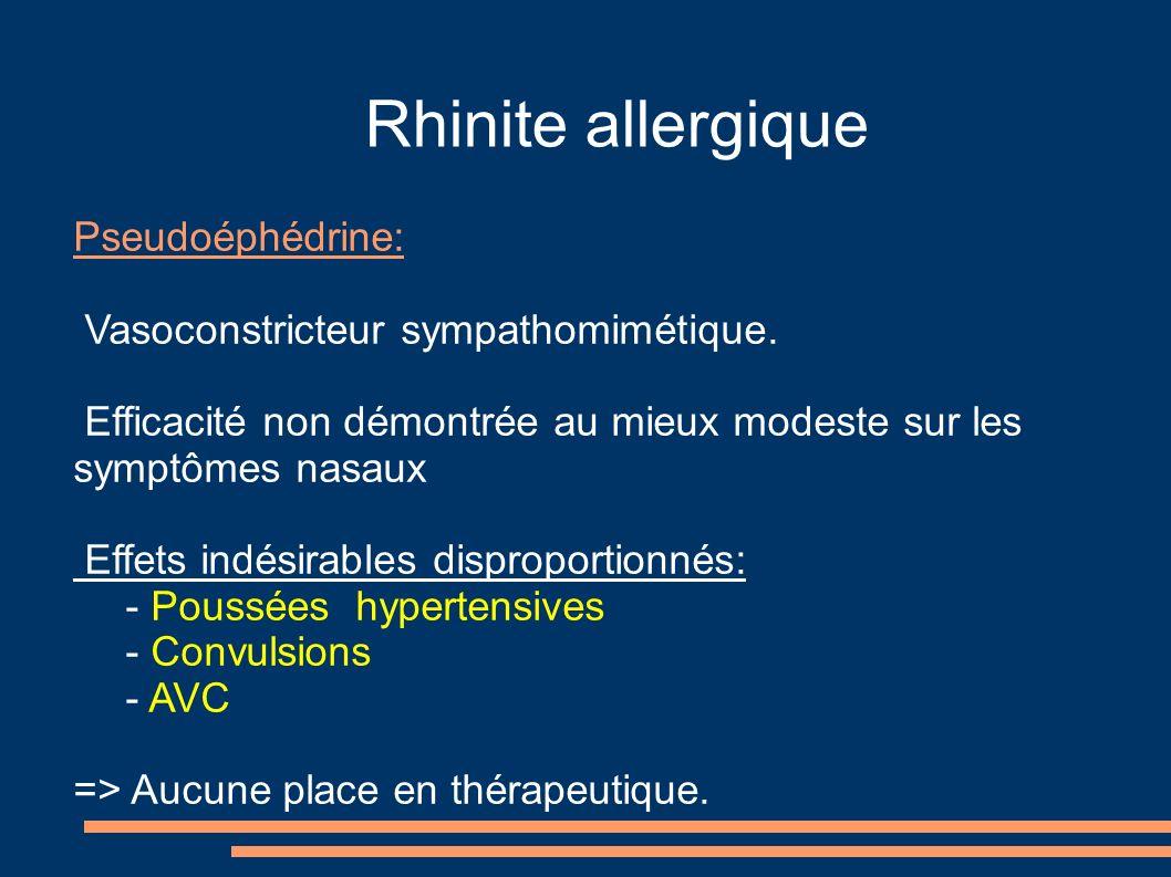 Rhinite allergique Pseudoéphédrine: Vasoconstricteur sympathomimétique. Efficacité non démontrée au mieux modeste sur les symptômes nasaux Effets indé
