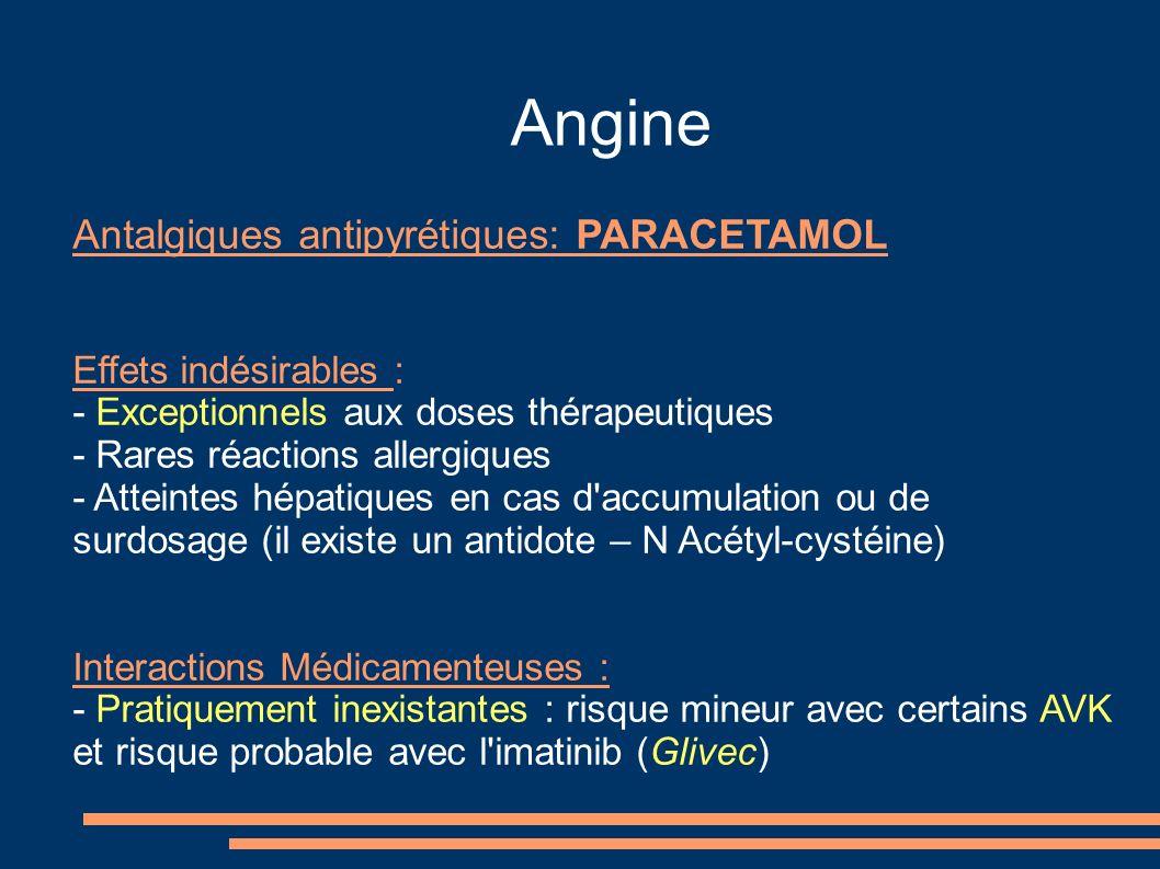 Angine Antalgiques antipyrétiques: PARACETAMOL Effets indésirables : - Exceptionnels aux doses thérapeutiques - Rares réactions allergiques - Atteinte