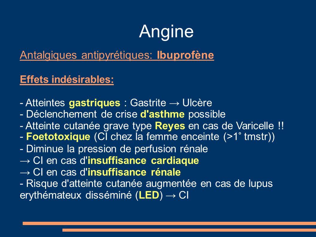 Angine Antalgiques antipyrétiques: Ibuprofène Effets indésirables: - Atteintes gastriques : Gastrite Ulcère - Déclenchement de crise d'asthme possible