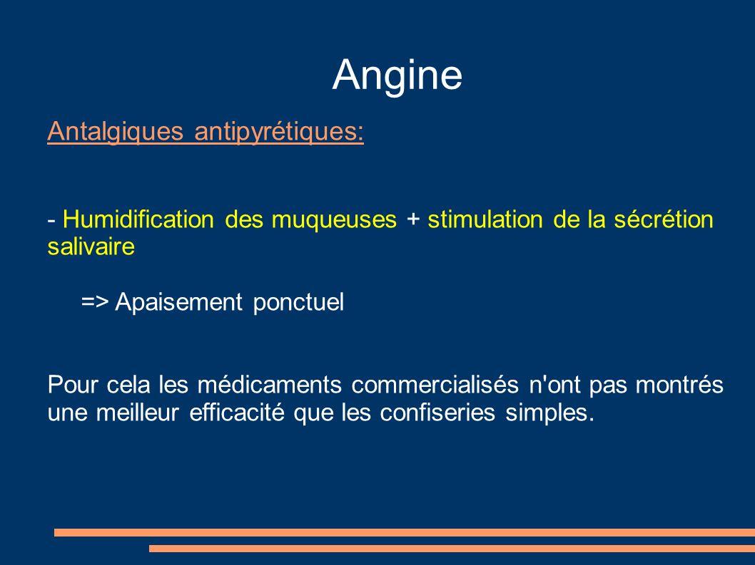 Angine Antalgiques antipyrétiques: - Humidification des muqueuses + stimulation de la sécrétion salivaire => Apaisement ponctuel Pour cela les médicam