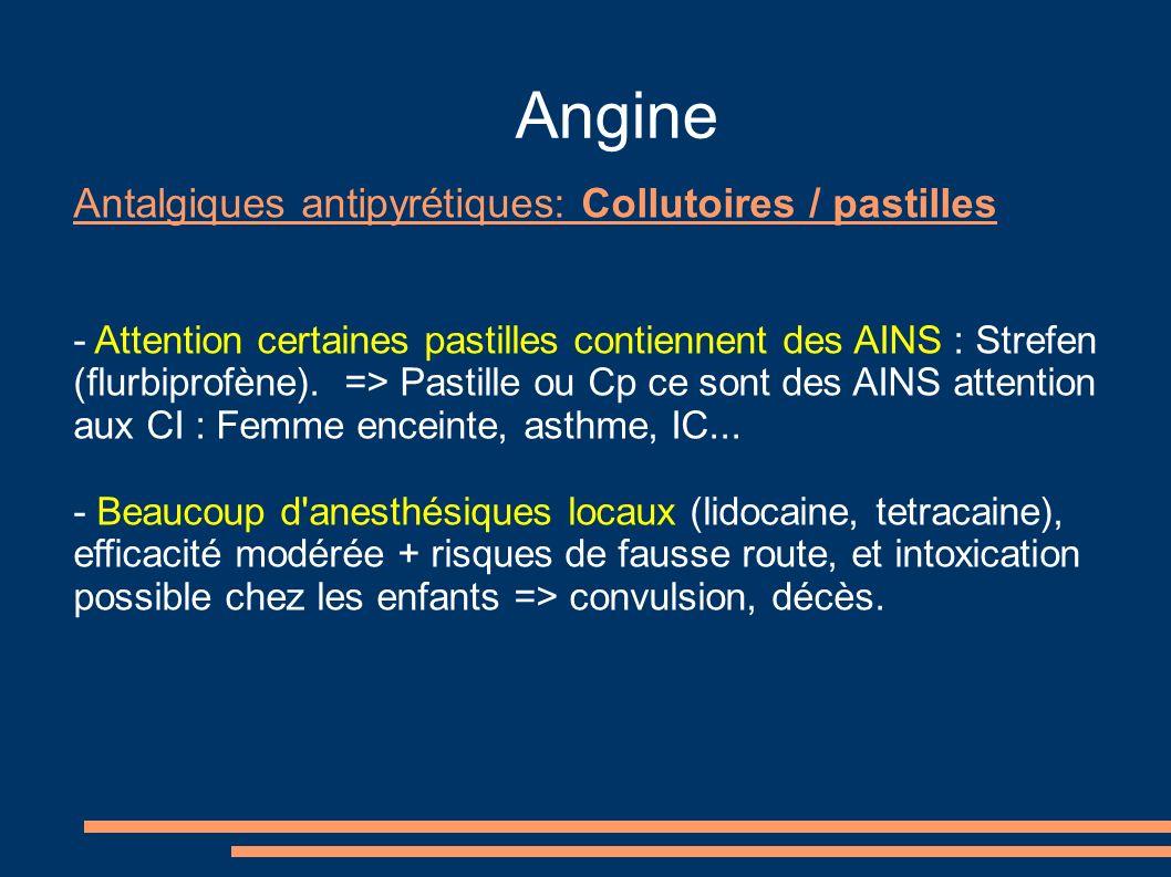 Angine Antalgiques antipyrétiques: Collutoires / pastilles - Attention certaines pastilles contiennent des AINS : Strefen (flurbiprofène). => Pastille