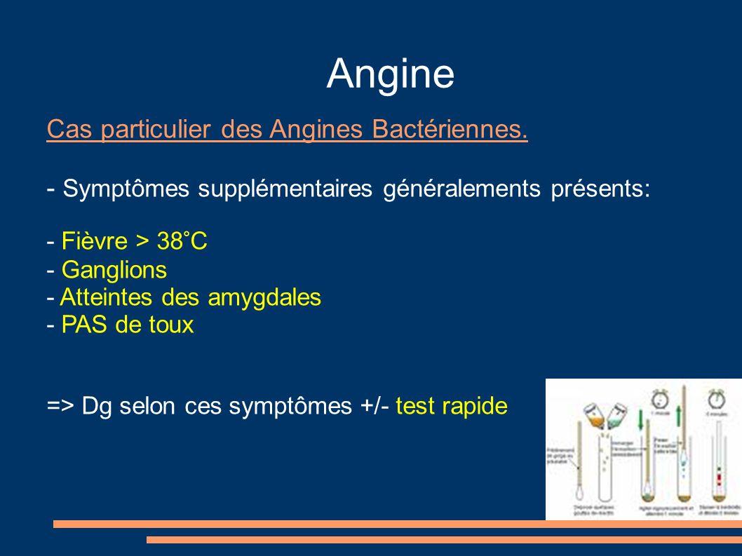 Angine Cas particulier des Angines Bactériennes. - Symptômes supplémentaires généralements présents: - Fièvre > 38°C - Ganglions - Atteintes des amygd