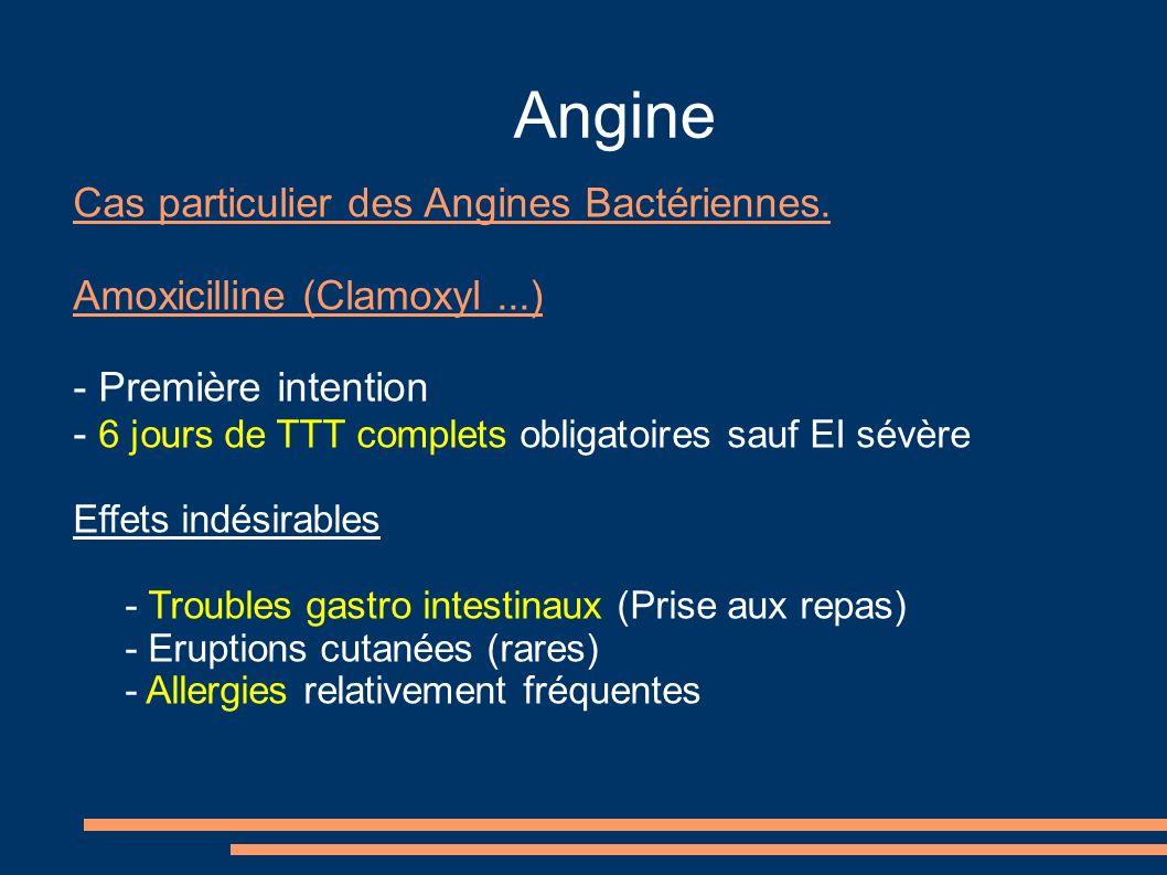 Angine Cas particulier des Angines Bactériennes. Amoxicilline (Clamoxyl...) - Première intention - 6 jours de TTT complets obligatoires sauf EI sévère