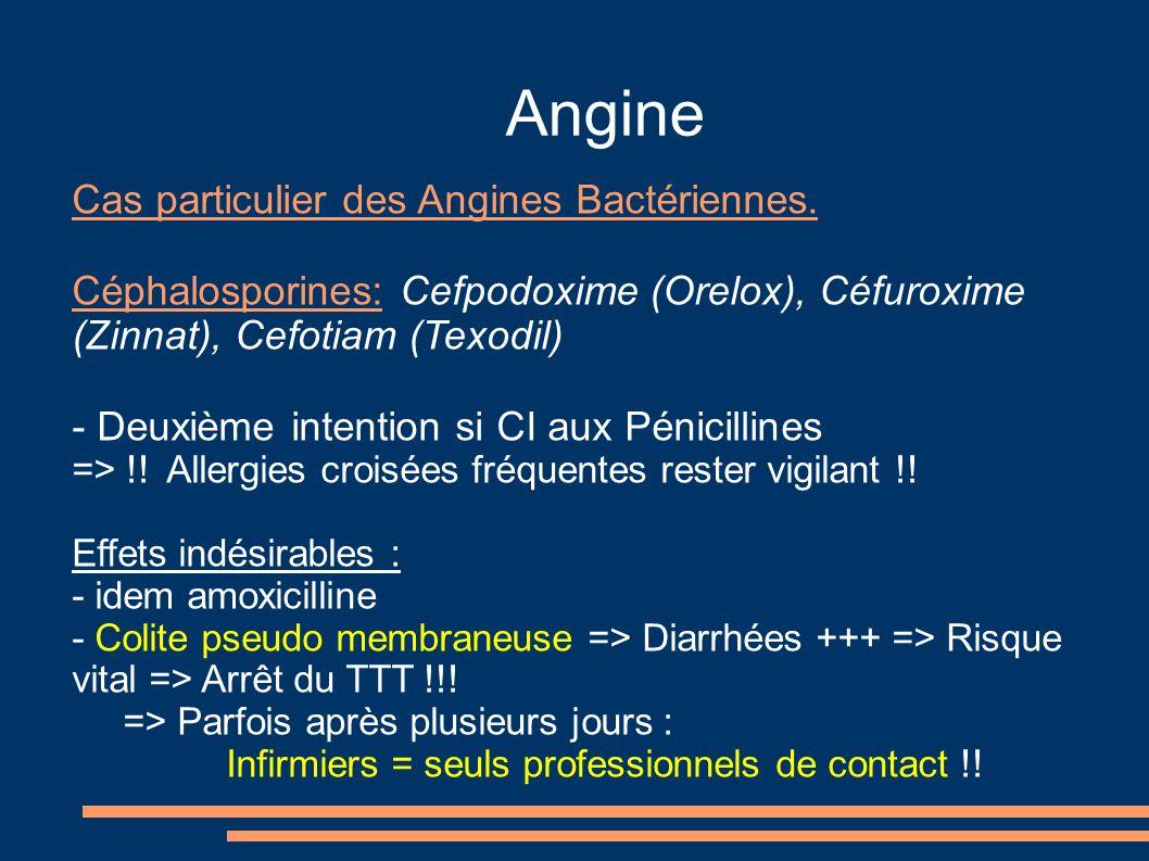Angine Cas particulier des Angines Bactériennes. Céphalosporines: Cefpodoxime (Orelox), Céfuroxime (Zinnat), Cefotiam (Texodil) - Deuxième intention s