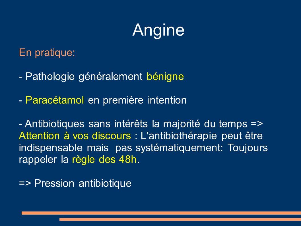 Angine En pratique: - Pathologie généralement bénigne - Paracétamol en première intention - Antibiotiques sans intérêts la majorité du temps => Attent