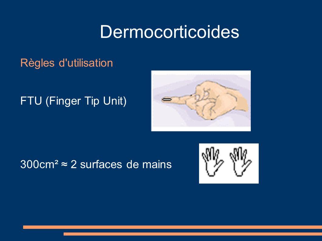 Dermocorticoides Règles d'utilisation FTU (Finger Tip Unit) 300cm² 2 surfaces de mains