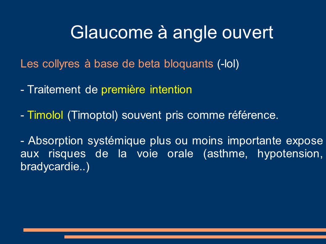 Glaucome à angle ouvert Les collyres à base de beta bloquants (-lol) - Traitement de première intention - Timolol (Timoptol) souvent pris comme référence.