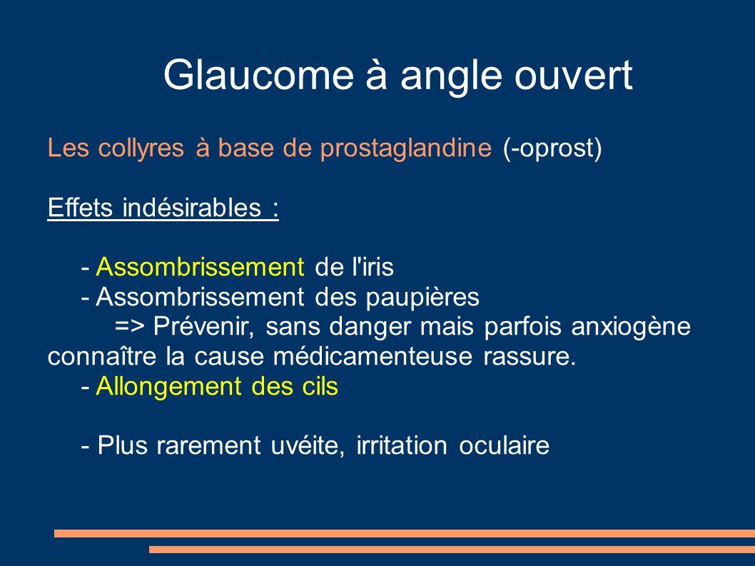 Glaucome à angle ouvert Les collyres à base de prostaglandine (-oprost) Effets indésirables : - Assombrissement de l'iris - Assombrissement des paupiè