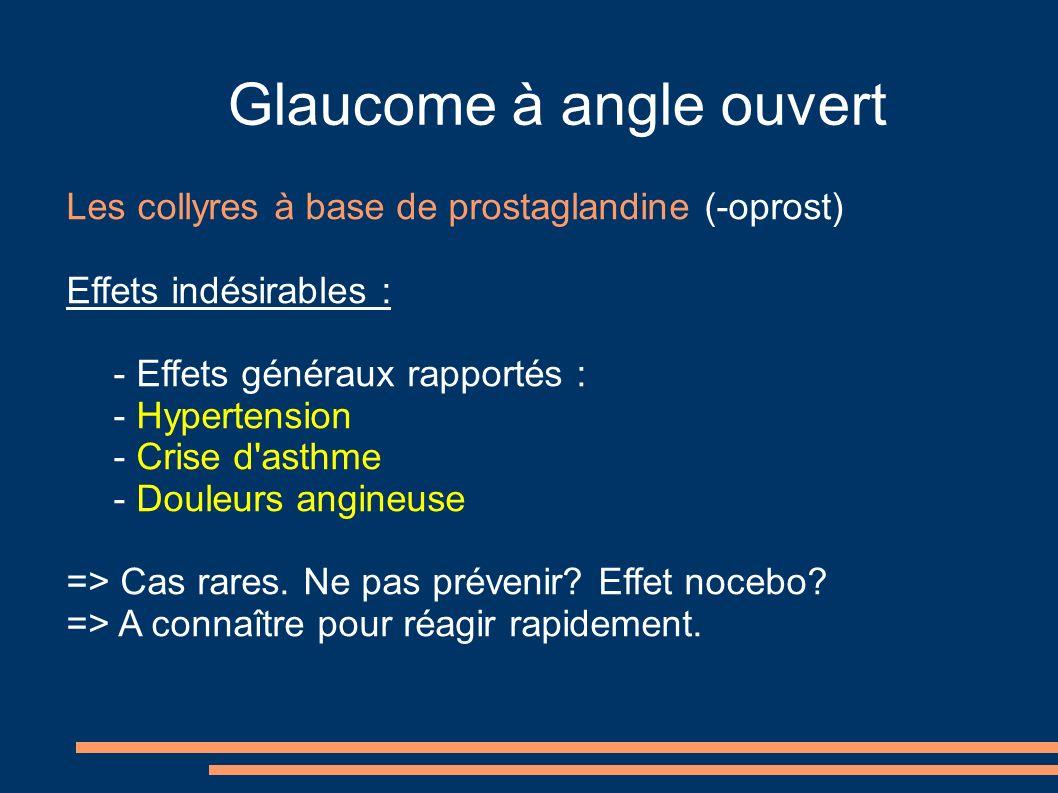 Glaucome à angle ouvert Les collyres à base de prostaglandine (-oprost) Effets indésirables : - Effets généraux rapportés : - Hypertension - Crise d asthme - Douleurs angineuse => Cas rares.