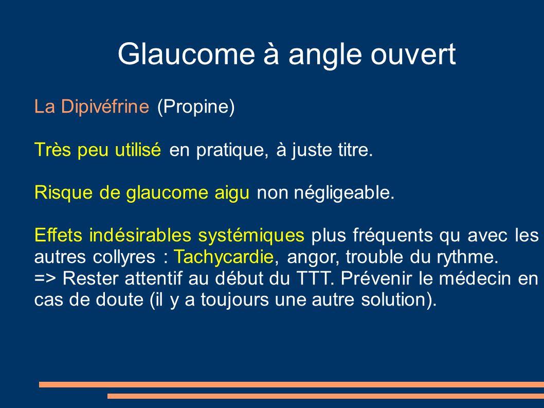 Glaucome à angle ouvert La Dipivéfrine (Propine) Très peu utilisé en pratique, à juste titre. Risque de glaucome aigu non négligeable. Effets indésira
