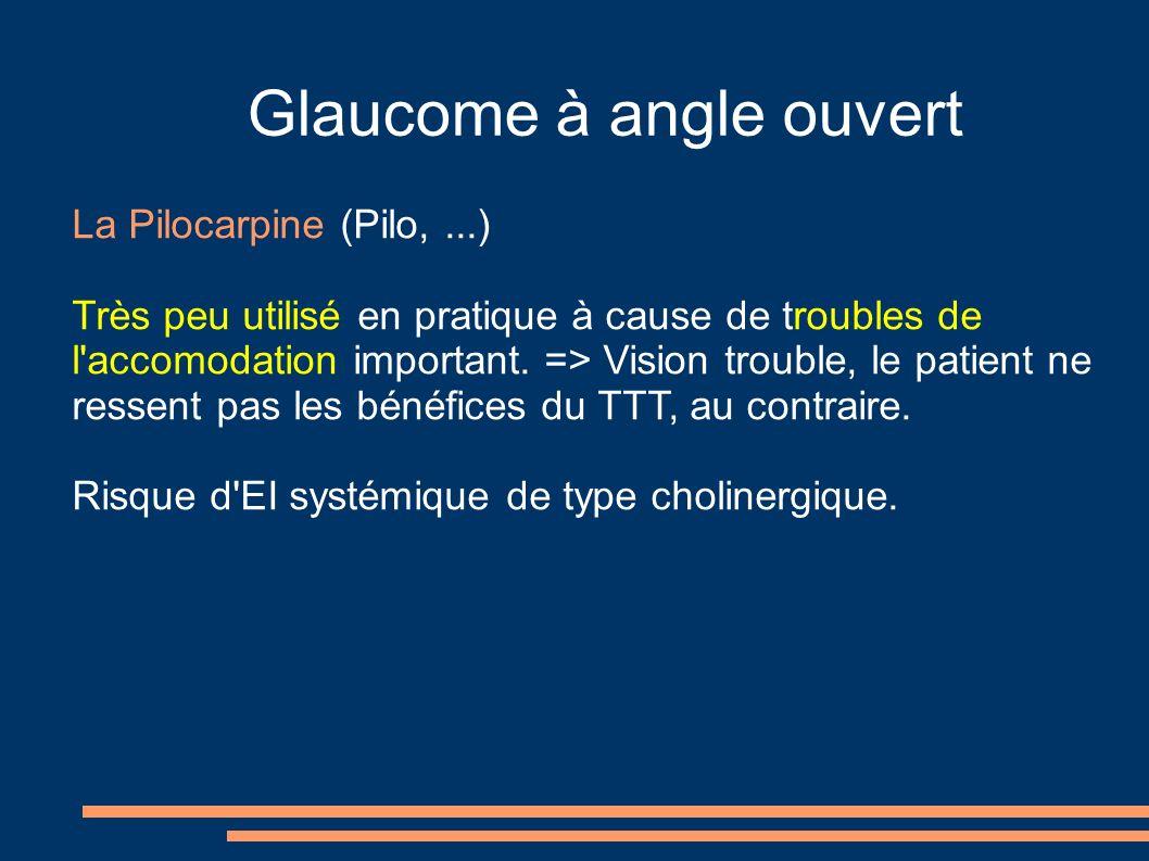 Glaucome à angle ouvert La Pilocarpine (Pilo,...) Très peu utilisé en pratique à cause de troubles de l'accomodation important. => Vision trouble, le