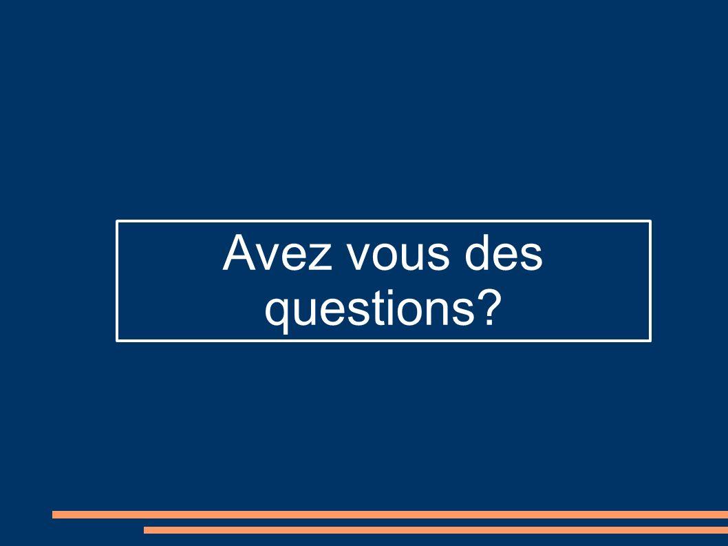 Avez vous des questions?