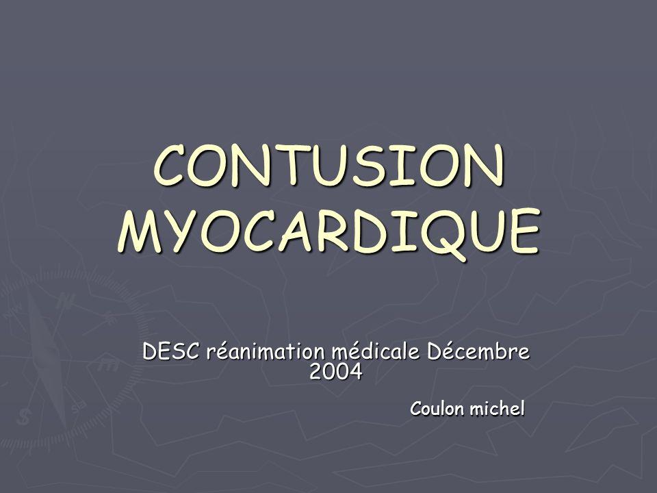 GENERALITES EPIDEMIO -> autopsiq: autour de 20% -> cliniq: de 16 à 76 % des trauma fermés du thorax / polytrauma du thorax / polytrauma Problème : pas de définition consensuelle Prêtre R, N Engl J of Med 1997 Problème : pas de définition consensuelle commotion myocardique / contusion m commotion myocardique / contusion m En fait : entité anatomopathologique (..