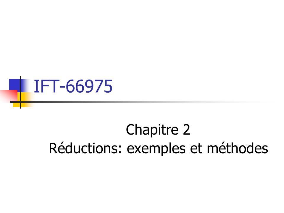IFT-66975 Chapitre 2 Réductions: exemples et méthodes