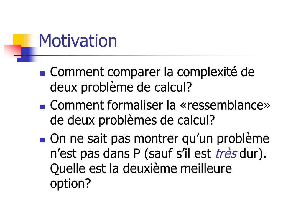 Motivation Comment comparer la complexité de deux problème de calcul? Comment formaliser la «ressemblance» de deux problèmes de calcul? On ne sait pas