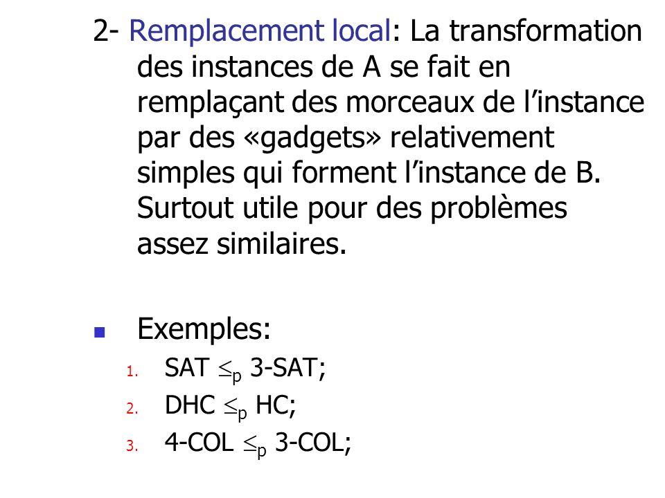 2- Remplacement local: La transformation des instances de A se fait en remplaçant des morceaux de linstance par des «gadgets» relativement simples qui