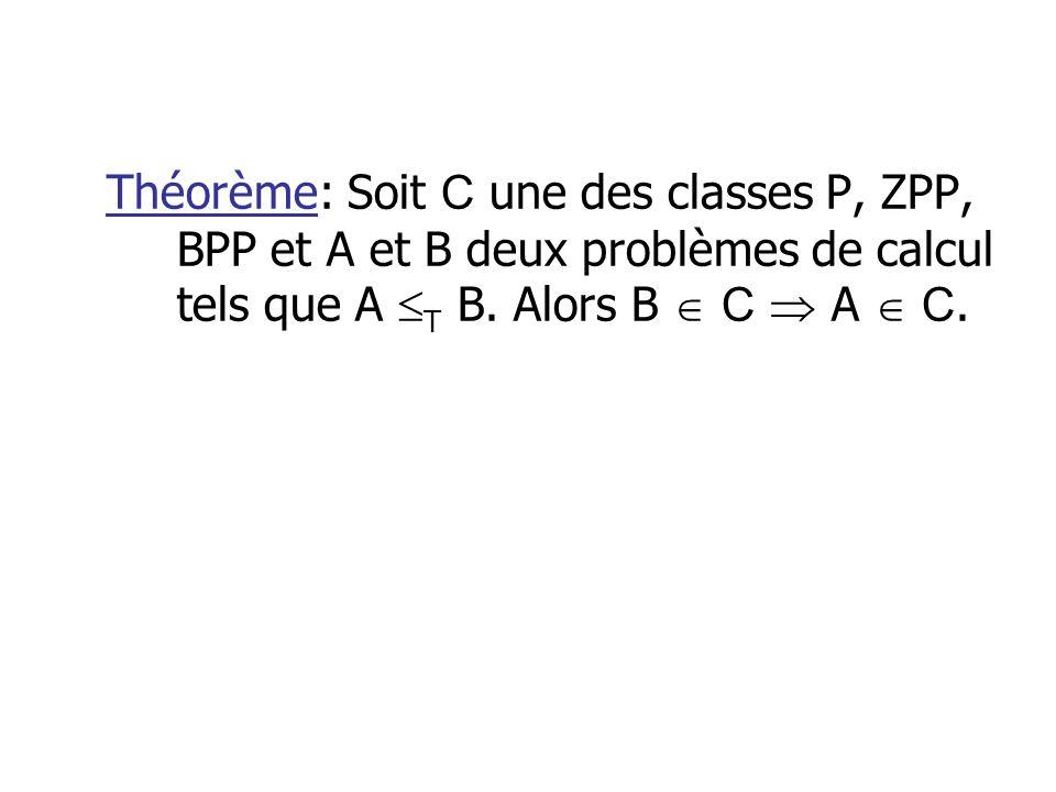 Théorème: Soit C une des classes P, ZPP, BPP et A et B deux problèmes de calcul tels que A T B. Alors B C A C.