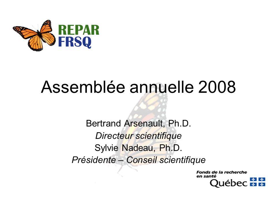Assemblée annuelle 2008 Bertrand Arsenault, Ph.D. Directeur scientifique Sylvie Nadeau, Ph.D.