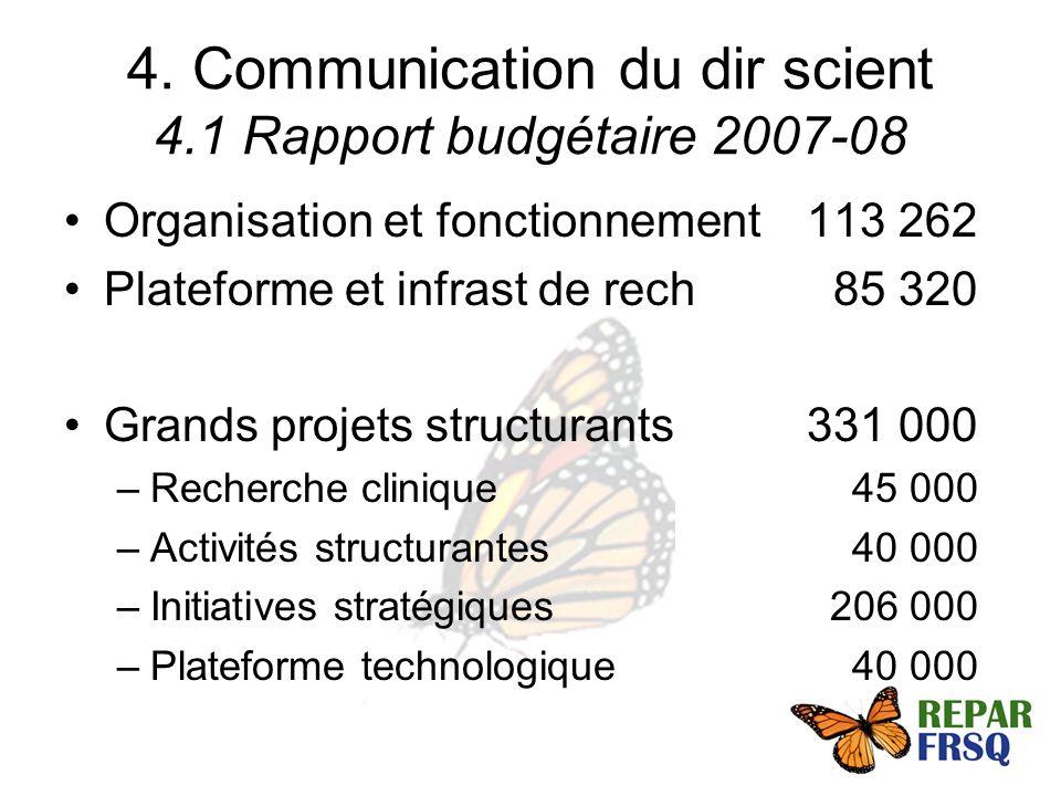 4. Communication du dir scient 4.1 Rapport budgétaire 2007-08 Organisation et fonctionnement113 262 Plateforme et infrast de rech 85 320 Grands projet