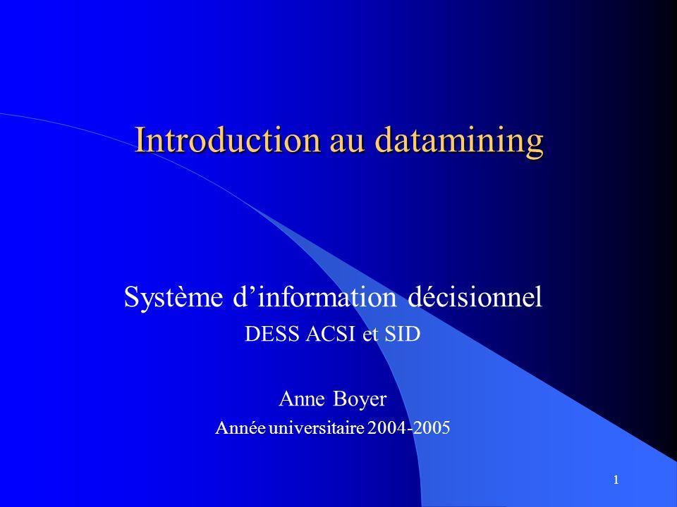 1 Introduction au datamining Système dinformation décisionnel DESS ACSI et SID Anne Boyer Année universitaire 2004-2005
