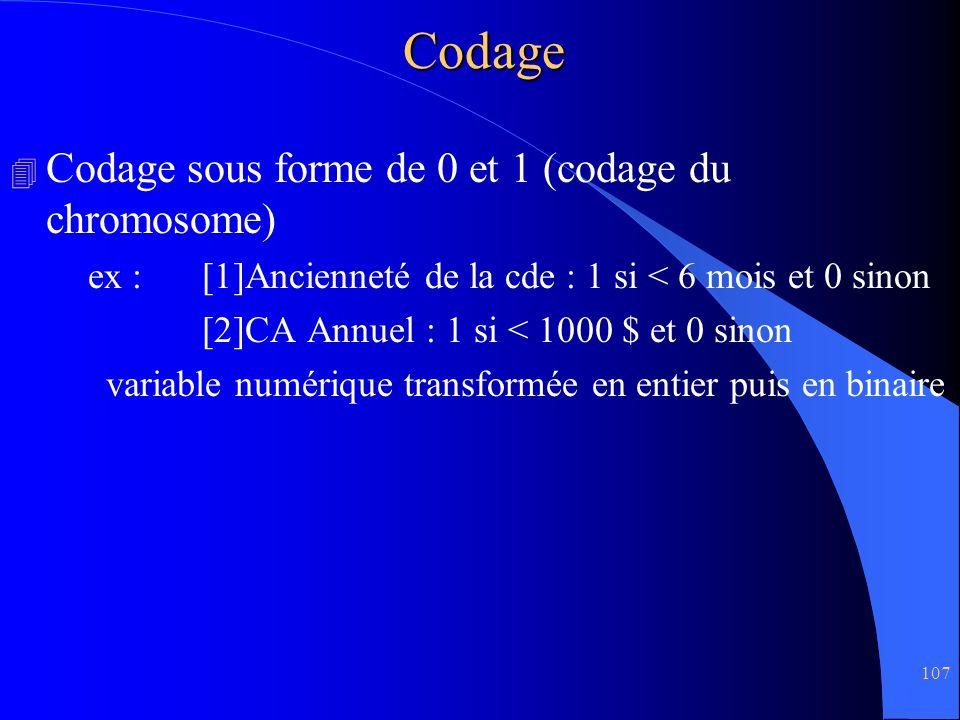 107Codage 4 Codage sous forme de 0 et 1 (codage du chromosome) ex :[1]Ancienneté de la cde : 1 si < 6 mois et 0 sinon [2]CA Annuel : 1 si < 1000 $ et