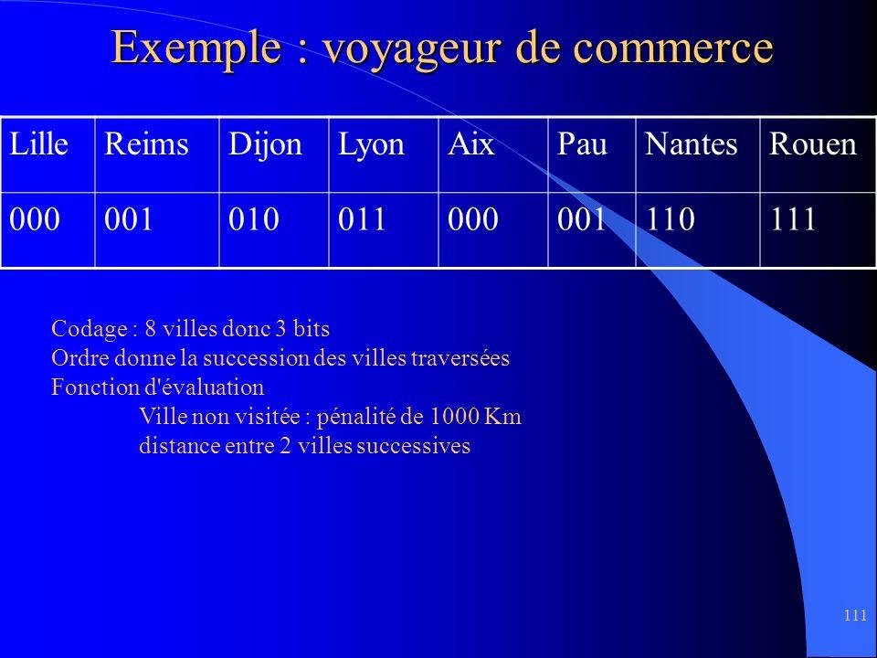 111 Exemple : voyageur de commerce LilleReimsDijonLyonAixPauNantesRouen 000001010011000001110111 Codage : 8 villes donc 3 bits Ordre donne la successi
