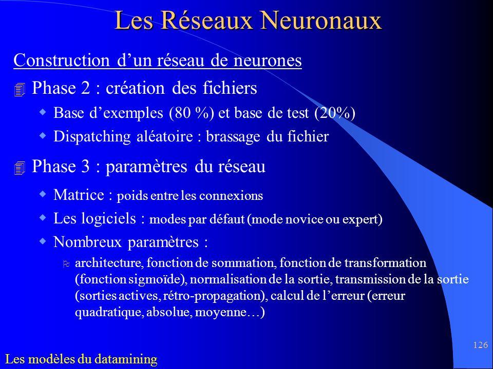 126 Construction dun réseau de neurones 4 Phase 2 : création des fichiers Base dexemples (80 %) et base de test (20%) Dispatching aléatoire : brassage