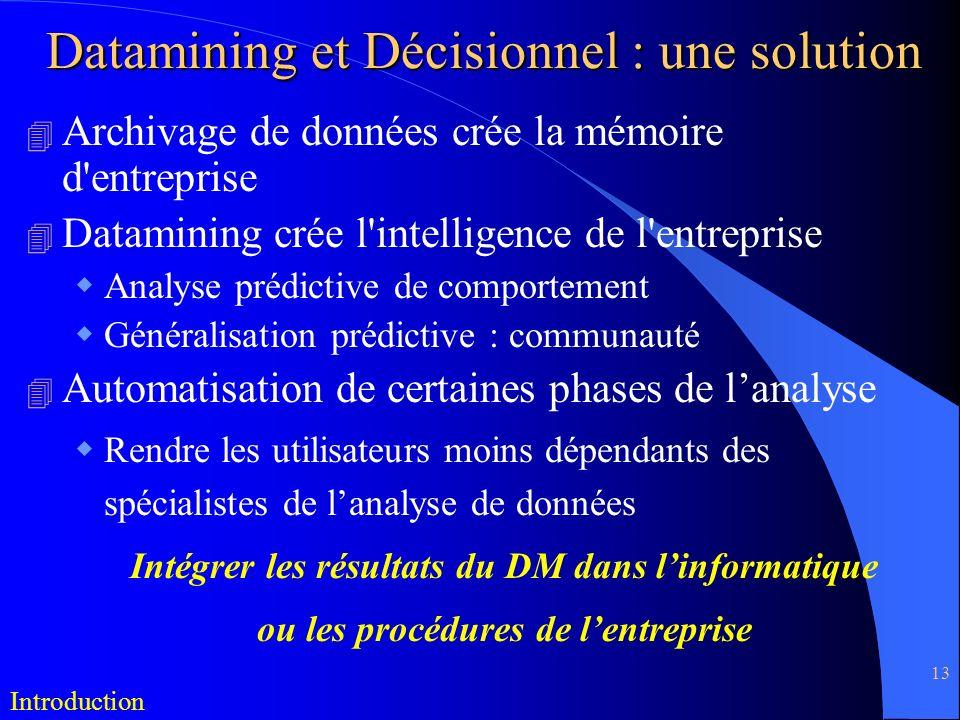 13 Datamining et Décisionnel : une solution 4 Archivage de données crée la mémoire d'entreprise 4 Datamining crée l'intelligence de l'entreprise Analy