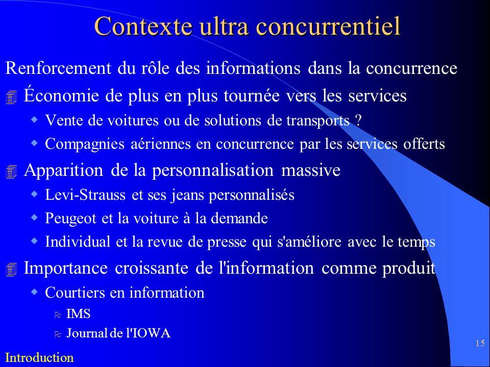 15 Contexte ultra concurrentiel Renforcement du rôle des informations dans la concurrence 4 Économie de plus en plus tournée vers les services Vente d