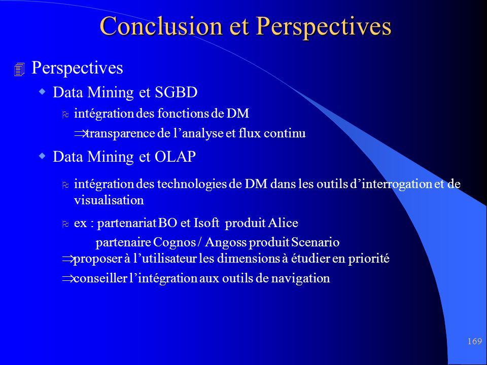 169 Conclusion et Perspectives 4 Perspectives Data Mining et SGBD O intégration des fonctions de DM transparence de lanalyse et flux continu Data Mini
