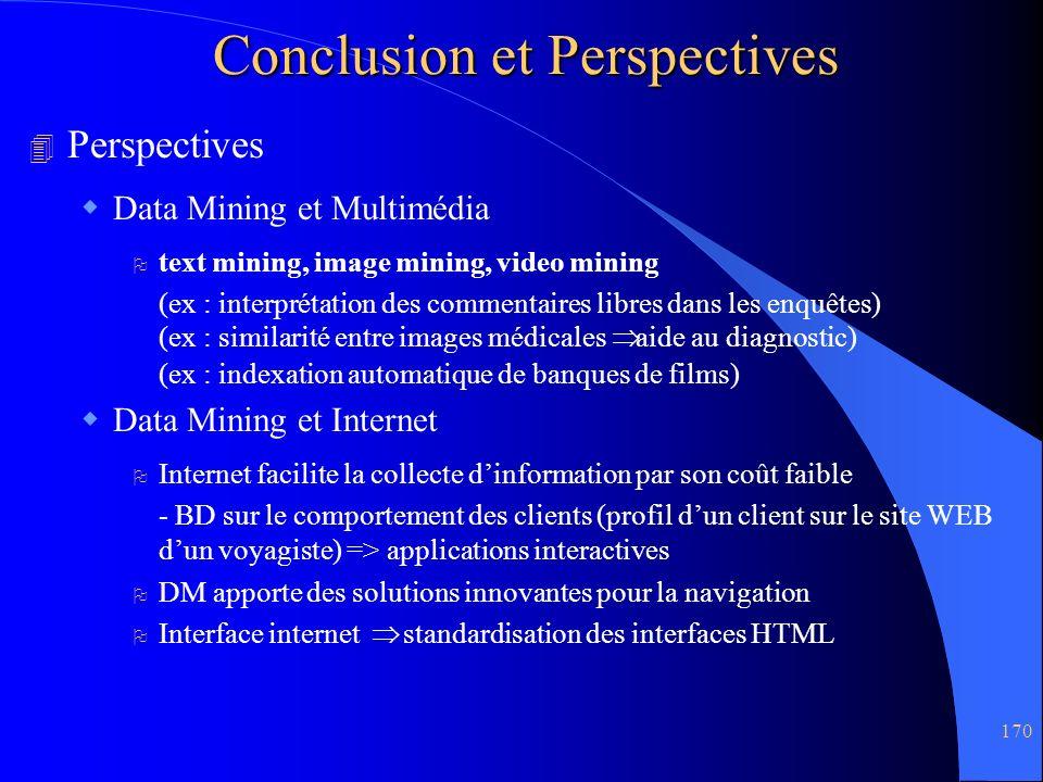 170 Conclusion et Perspectives 4 Perspectives Data Mining et Multimédia O text mining, image mining, video mining (ex : interprétation des commentaire