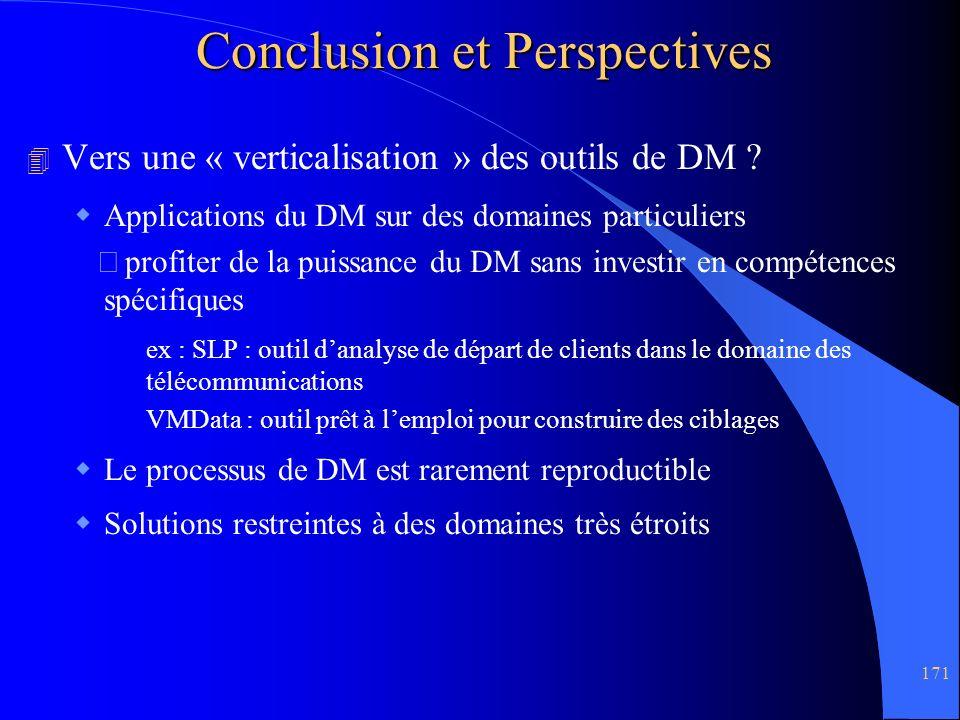171 Conclusion et Perspectives 4 Vers une « verticalisation » des outils de DM ? Applications du DM sur des domaines particuliers profiter de la puiss