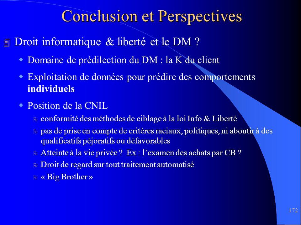 172 Conclusion et Perspectives 4 Droit informatique & liberté et le DM ? Domaine de prédilection du DM : la K du client Exploitation de données pour p