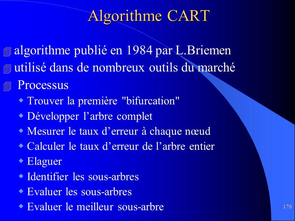 176 Algorithme CART 4 algorithme publié en 1984 par L.Briemen 4 utilisé dans de nombreux outils du marché 4 Processus Trouver la première