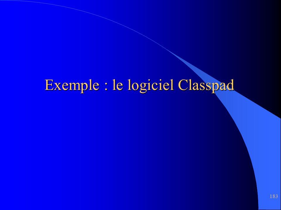 183 Exemple : le logiciel Classpad