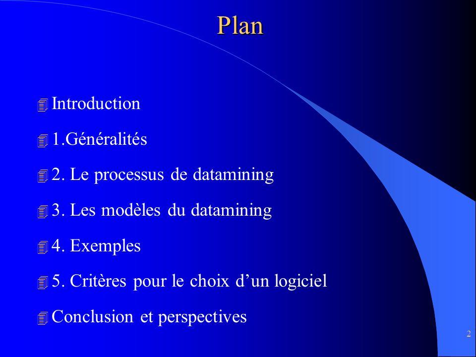 2Plan 4 Introduction 4 1.Généralités 4 2. Le processus de datamining 4 3. Les modèles du datamining 4 4. Exemples 4 5. Critères pour le choix dun logi