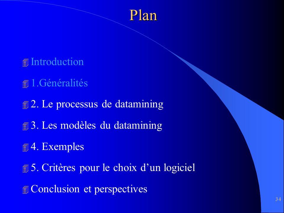 34Plan 4 Introduction 4 1.Généralités 4 2. Le processus de datamining 4 3. Les modèles du datamining 4 4. Exemples 4 5. Critères pour le choix dun log