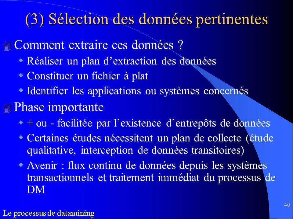 40 (3) Sélection des données pertinentes 4 Comment extraire ces données ? Réaliser un plan dextraction des données Constituer un fichier à plat Identi