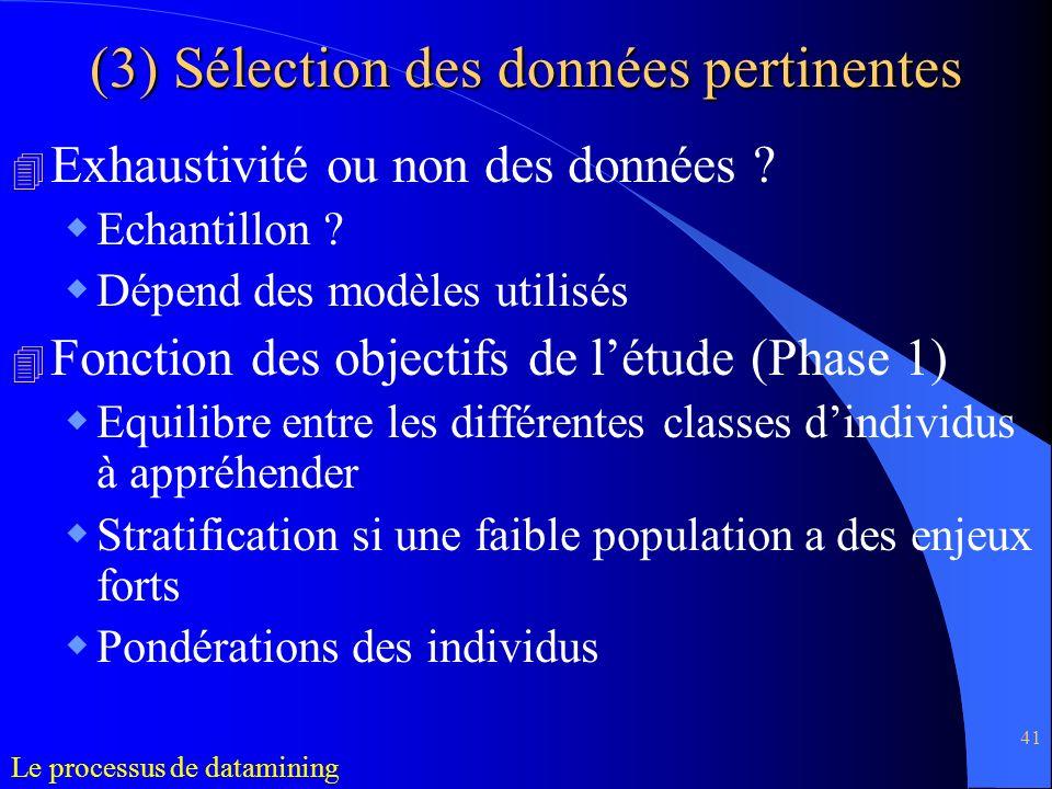 41 (3) Sélection des données pertinentes 4 Exhaustivité ou non des données ? Echantillon ? Dépend des modèles utilisés 4 Fonction des objectifs de lét