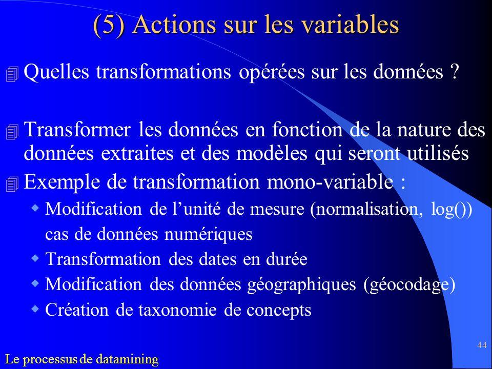 44 4 Quelles transformations opérées sur les données ? 4 Transformer les données en fonction de la nature des données extraites et des modèles qui ser