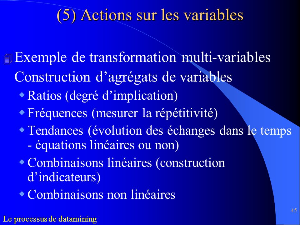45 4 Exemple de transformation multi-variables Construction dagrégats de variables Ratios (degré dimplication) Fréquences (mesurer la répétitivité) Te