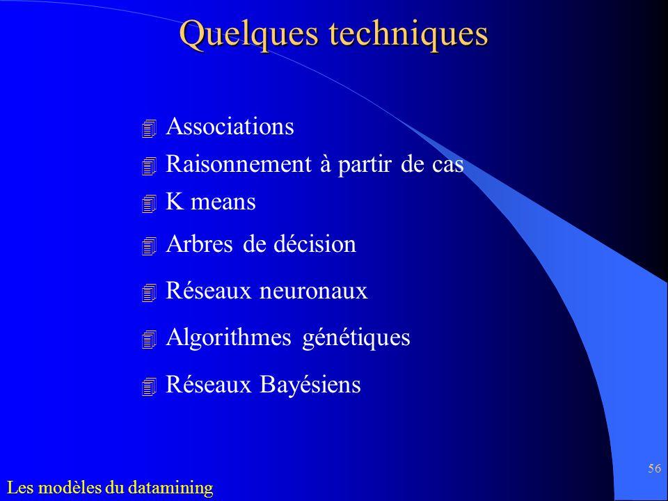 56 4 Associations 4 Raisonnement à partir de cas 4 K means 4 Arbres de décision 4 Réseaux neuronaux 4 Algorithmes génétiques 4 Réseaux Bayésiens Quelq