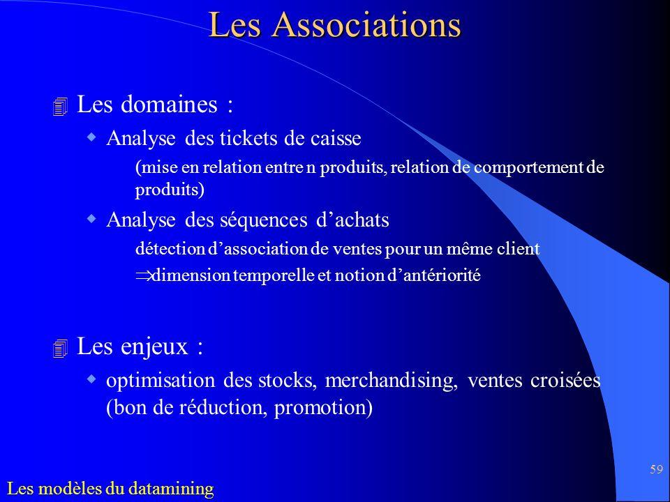 59 4 Les domaines : Analyse des tickets de caisse (mise en relation entre n produits, relation de comportement de produits) Analyse des séquences dach