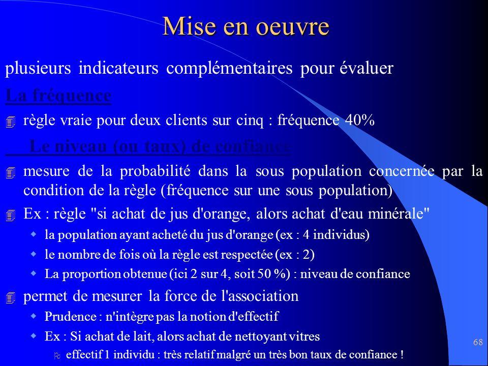 68 Mise en oeuvre plusieurs indicateurs complémentaires pour évaluer La fréquence 4 règle vraie pour deux clients sur cinq : fréquence 40% Le niveau (
