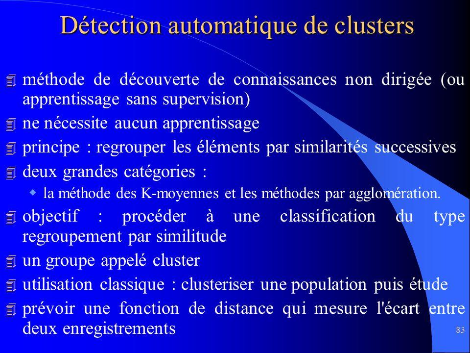 83 Détection automatique de clusters 4 méthode de découverte de connaissances non dirigée (ou apprentissage sans supervision) 4 ne nécessite aucun app