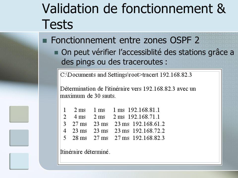 Validation de fonctionnement & Tests Fonctionnement entre zones OSPF 2 On peut vérifier laccessiblité des stations grâce a des pings ou des traceroutes :