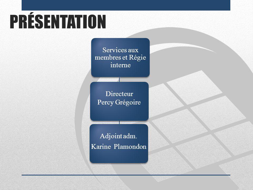 PRÉSENTATION Services aux membres et Régie interne Directeur Percy Grégoire Adjoint adm. Karine Plamondon