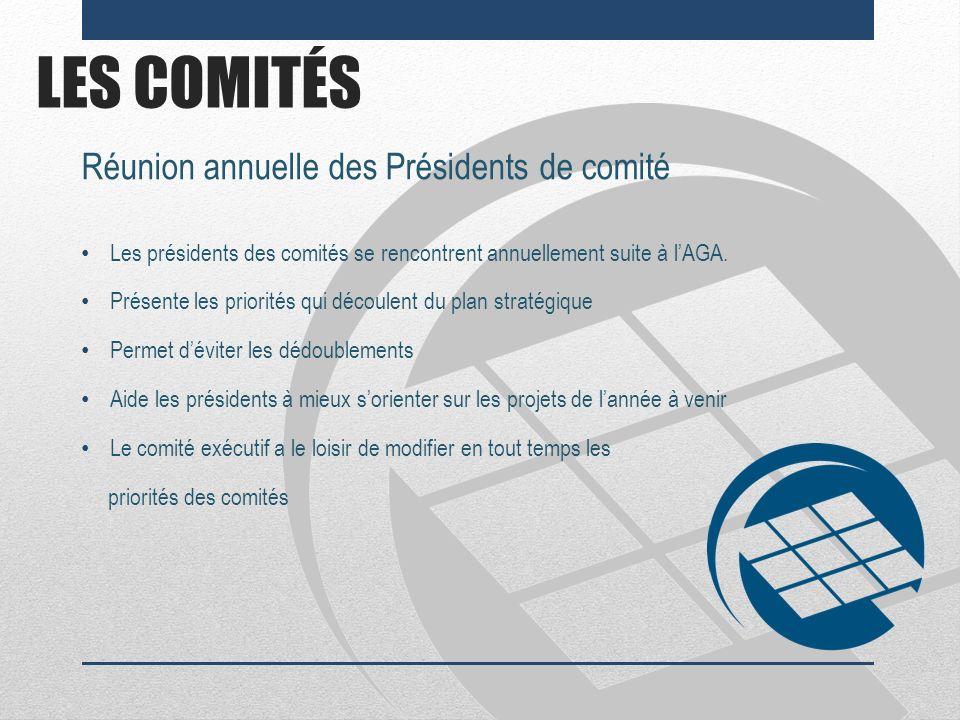 LES COMITÉS Réunion annuelle des Présidents de comité Les présidents des comités se rencontrent annuellement suite à lAGA. Présente les priorités qui