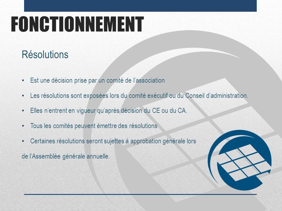 FONCTIONNEMENT Résolutions Est une décision prise par un comité de lassociation Les résolutions sont exposées lors du comité exécutif ou du Conseil da