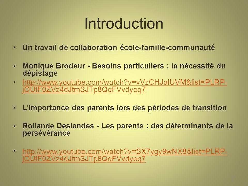 Introduction Un travail de collaboration école-famille-communauté Monique Brodeur - Besoins particuliers : la nécessité du dépistage http://www.youtube.com/watch?v=vVzCHJalUVM&list=PLRP- jOUtF0ZVz4dJtmSJTp8QqFVvdyeq7http://www.youtube.com/watch?v=vVzCHJalUVM&list=PLRP- jOUtF0ZVz4dJtmSJTp8QqFVvdyeq7 Limportance des parents lors des périodes de transition Rollande Deslandes - Les parents : des déterminants de la persévérance http://www.youtube.com/watch?v=SX7ygy9wNX8&list=PLRP- jOUtF0ZVz4dJtmSJTp8QqFVvdyeq7http://www.youtube.com/watch?v=SX7ygy9wNX8&list=PLRP- jOUtF0ZVz4dJtmSJTp8QqFVvdyeq7 4